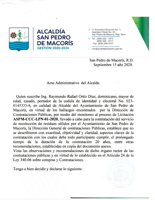 Acto Administrativo de declaración de proceso cancelado  No. ASPM-CCC-LPN-01-2020